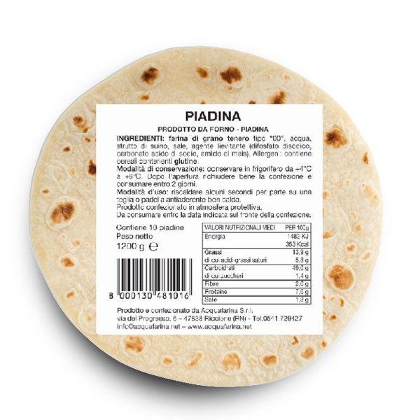 Piadina confezione 10 pz 1,2KG Acquafarina