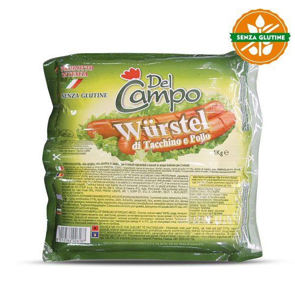 Wurstel di pollo 1kg senza glutine Del Campo