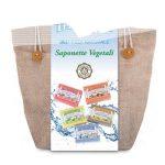 Confezione regalo in juta con 5 saponette vegetali assortite da 100g I Provenzali