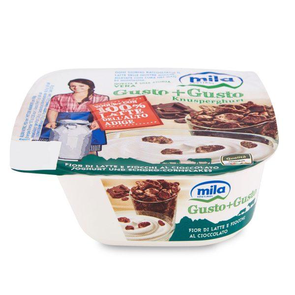 Gusto+gusto fior di latte e fiocchi al cioccolato 150g Mila