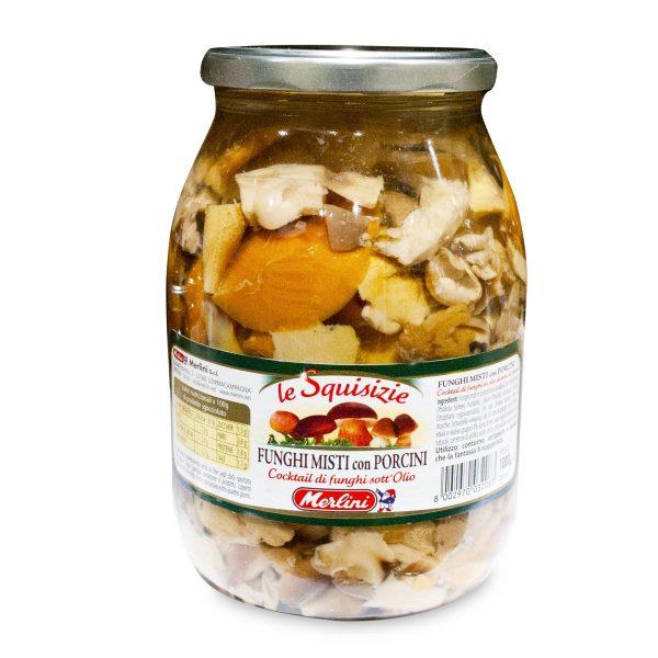 Funghi porcini in olio d'oliva tagliati 190g Merlini