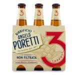 Birra 3 luppoli non filtrata 33x3 bottiglia Poretti