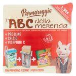 ABC della merenda snack con Parmareggio 17g,busta frutta secca 18g noberasco,frullato 125ml Valfrutt